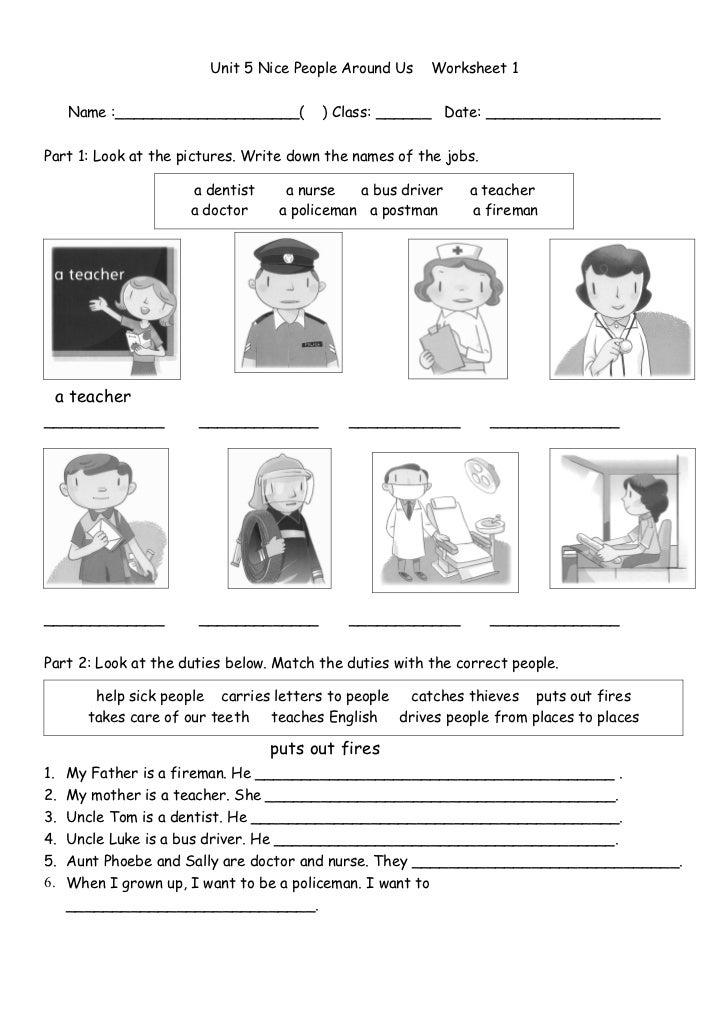Worksheets For People : Worksheet jobs and duties