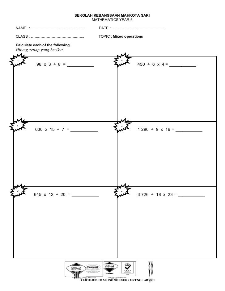 Worksheet mixed operation year 5