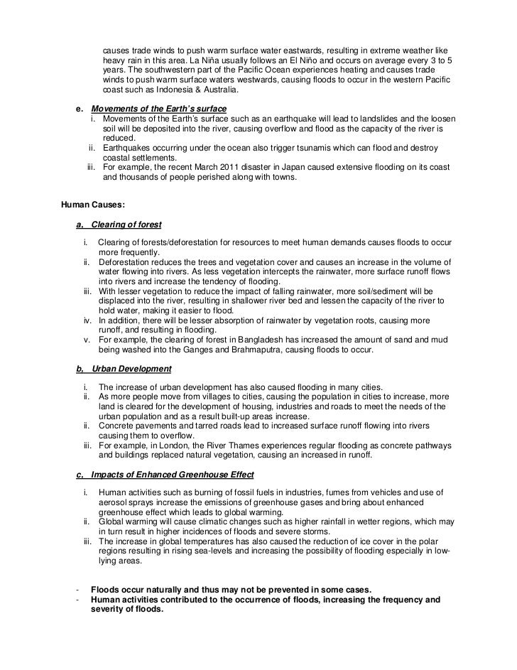 Worksheet On Causes Of Flood Notes