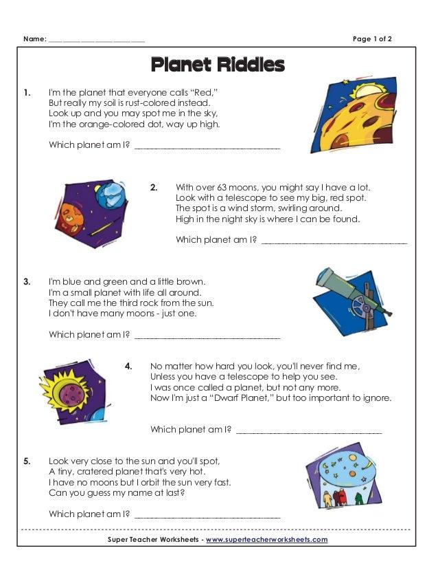 Worksheet (planet riddles)