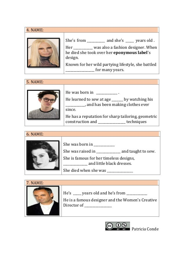 Worksheets Famous Fashion Designers