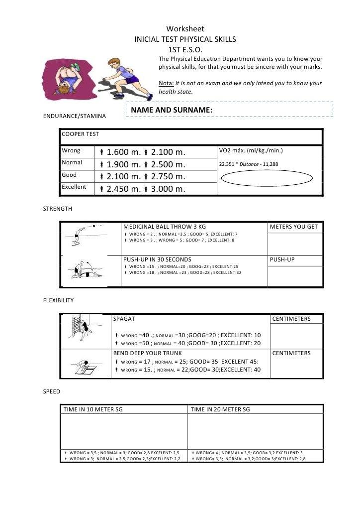 Worksheets Warm up - Motor Qualities 1 St Term 1º ESO Secciones