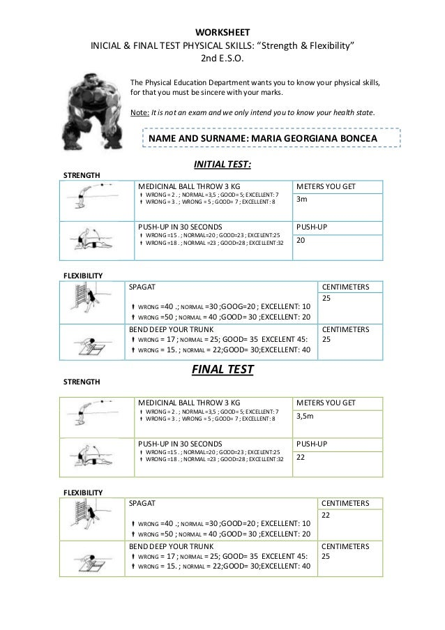 Worksheets 1 st term 2º eso athletics & fisical conditions