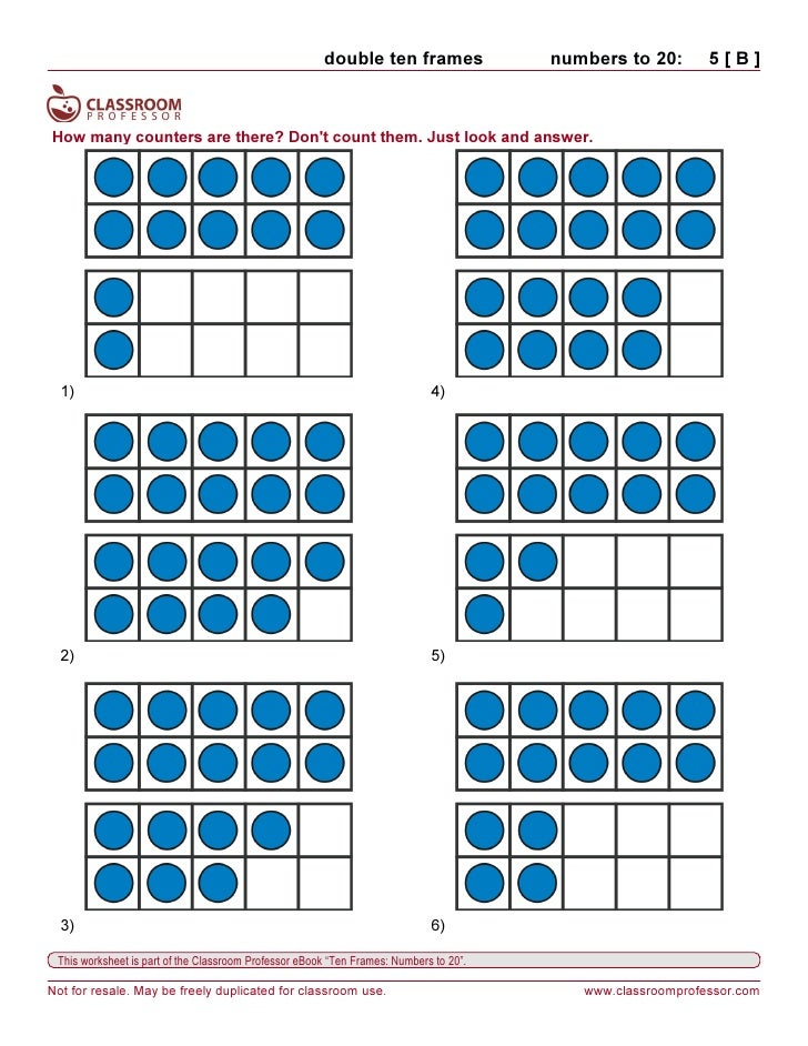 Printables Ten Frame Worksheets worksheets ten frames 10 double frames