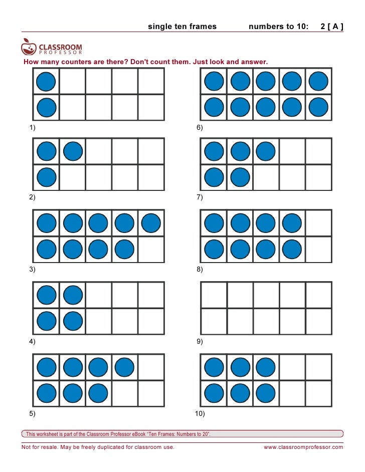 Worksheets ten frames – Tens Frames Worksheets