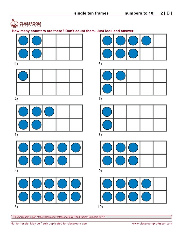 Worksheets With Ten Frames - All The Best Frames In 2018