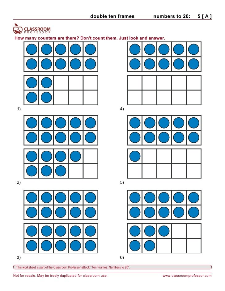 Printables Ten Frame Worksheets worksheets ten frames 9 double frames