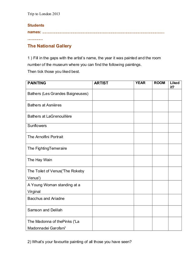 Worksheets trip to_london_2013-2