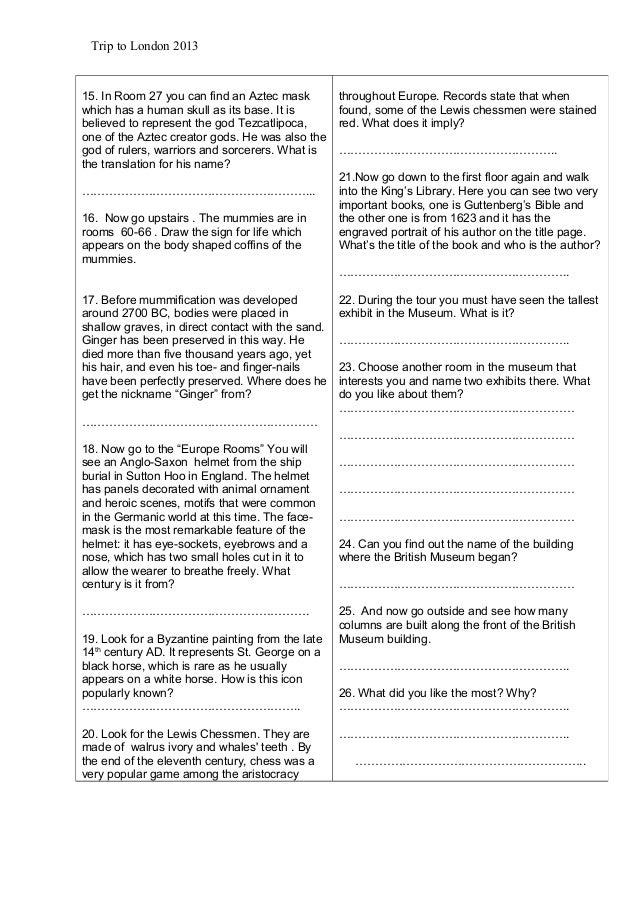 Worksheets trip tolondon20132 – Aztec Worksheets