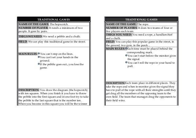 worksheet traditional games
