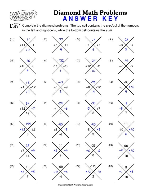 Worksheets Worksheet Works Answer Key worksheet works diamond math problems 1