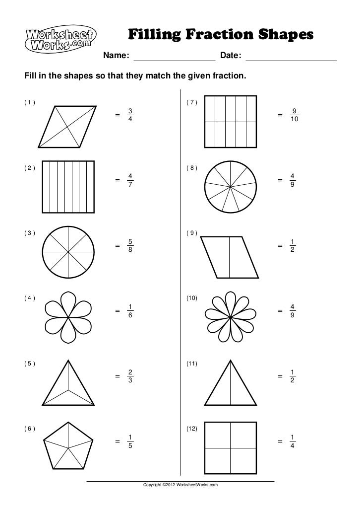 Worksheet Works For 1st Grade : Worksheet works filling fraction shapes