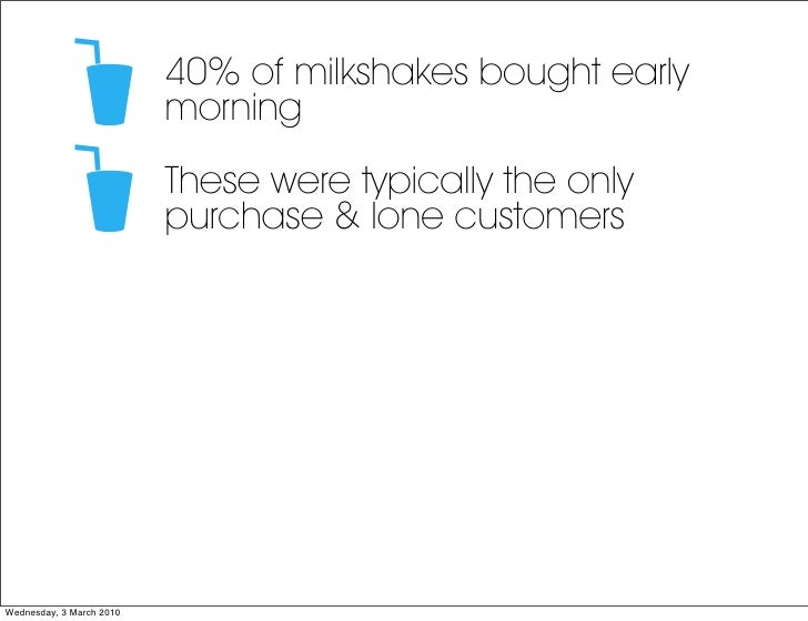 40% of milkshakes bought early                           morning                           These were typically the only  ...