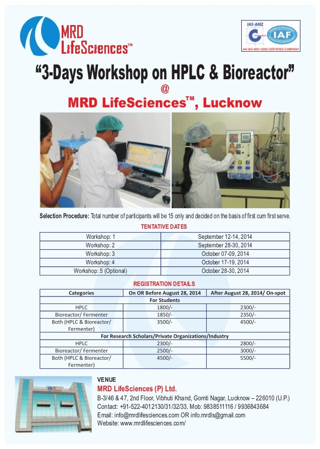 """3-Days Workshop on HPLC & Bioreactor"" TM MRD LifeSciences , Lucknow @ Selection Procedure: Total number of participants w..."