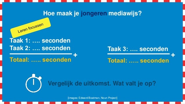 Hoe maak je jongeren mediawijs? Taak 1: …. seconden Taak 2: …. seconden Totaal: ….. seconden + Taak 3: …. seconden Totaal:...