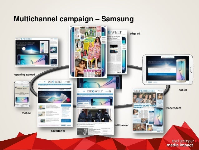 Multichannel campaign – Samsung opening spread advertorial tablet full banner edge ad readers test mobile