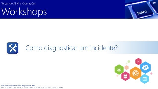 Como diagnosticar um incidente?  Terças de ALM e Operações  Workshops  Alan do Nascimento Carlos, Blog Technet Wiki  MCT, ...