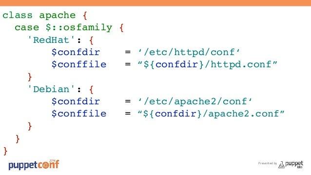 "Presented by  class apache {!  case $::osfamily {!  'RedHat': {!  $confdir = '/etc/httpd/conf'!  $conffile = ""${confdir}/h..."
