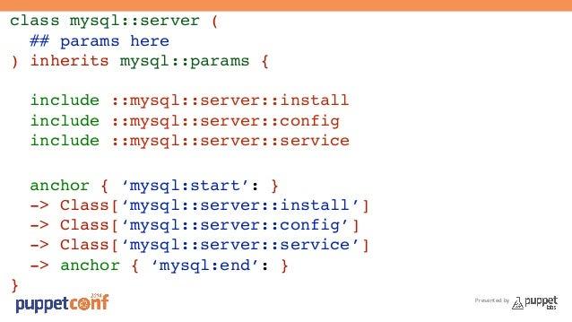 Presented by  class mysql::server (!  ## params here!  ) inherits mysql::params {!  !  include ::mysql::server::install!  ...