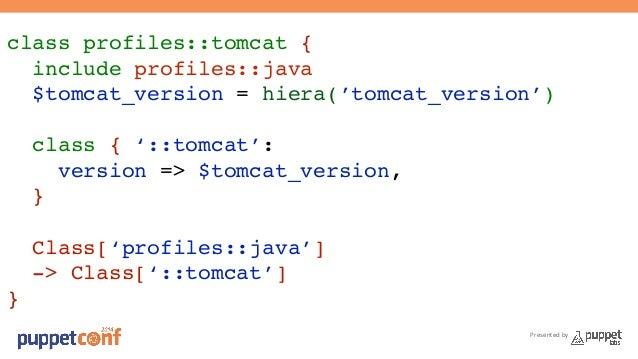 class profiles::tomcat {!  include profiles::java!  $tomcat_version = hiera('tomcat_version')!  !  class { '::tomcat':!  P...