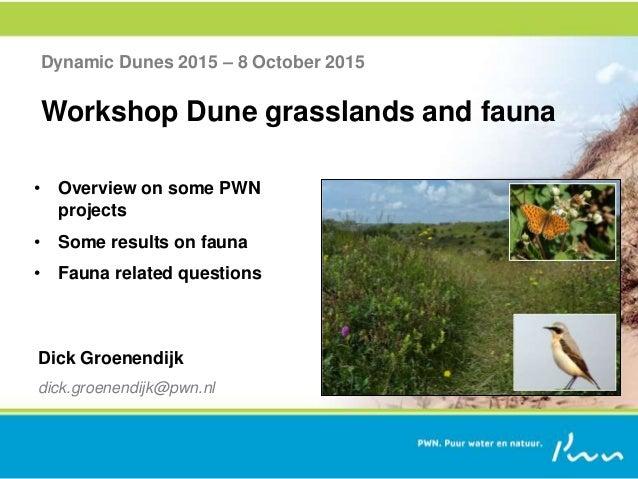 Dynamic Dunes 2015 – 8 October 2015 Workshop Dune grasslands and fauna Dick Groenendijk dick.groenendijk@pwn.nl • Overview...
