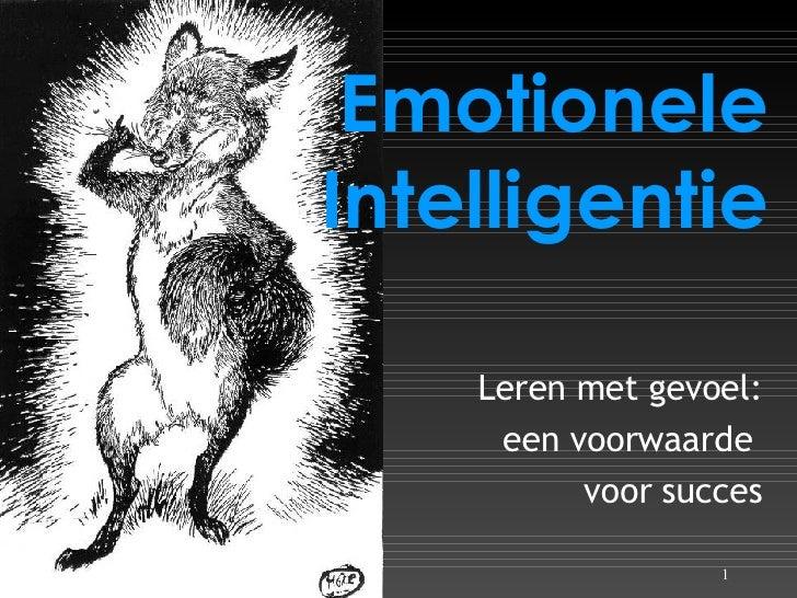 Emotionele Intelligentie Leren met gevoel: een voorwaarde  voor succes