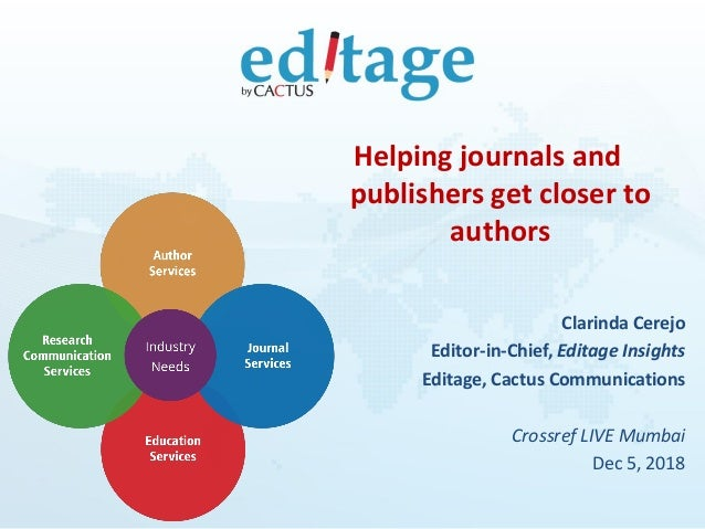 Helping journals and publishers get closer to authors Clarinda Cerejo Editor-in-Chief, Editage Insights Editage, Cactus Co...