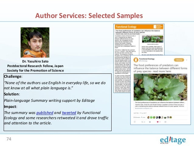 Editage Workshop: Helping journals and publishers get closer