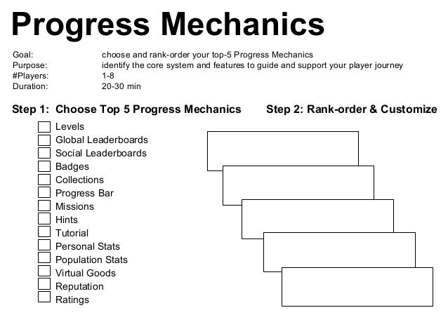 Progress Mechanics Goal: choose and rank-order your top-5 Progress Mechanics Purpose: identify the core system and feature...