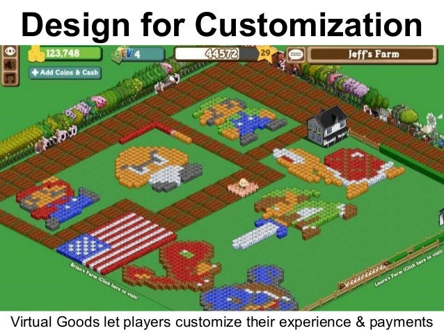 Virtual Goods let players customize their experience & payments Design for Customization