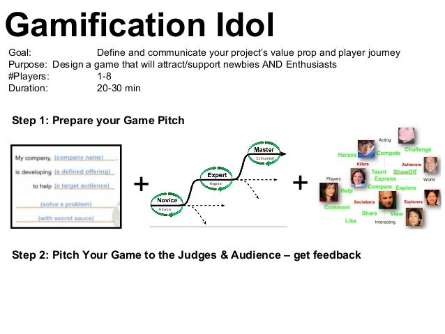 Gamification Idol Step 1: Prepare your Game Pitch Goal: Define and communicate your project's value prop and player journe...