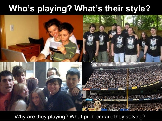 Why are they playing? What problem are they solving? Who's playing? What's their style?