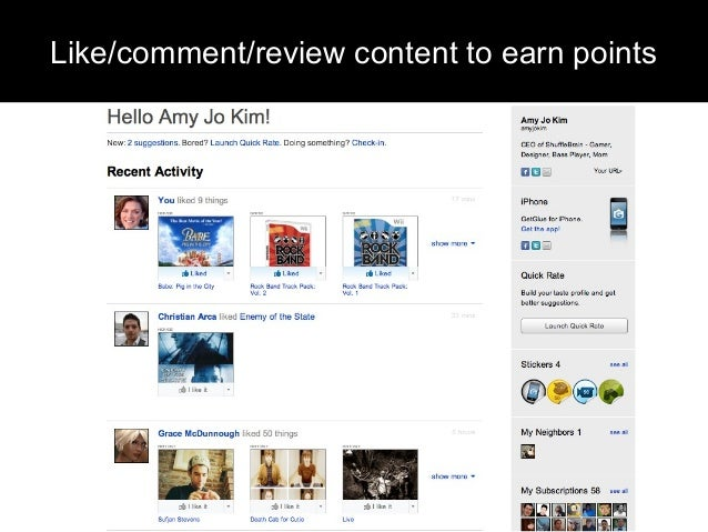 Like/comment/review content to earn points