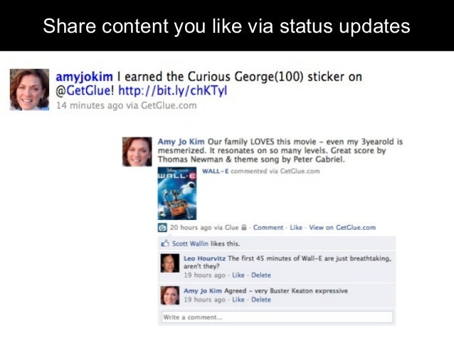 Share content you like via status updates