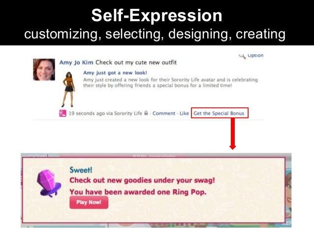 Self-Expression customizing, selecting, designing, creating
