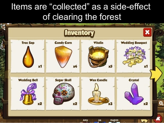 "Items are ""collected"" as a side-effect of clearing the forest"