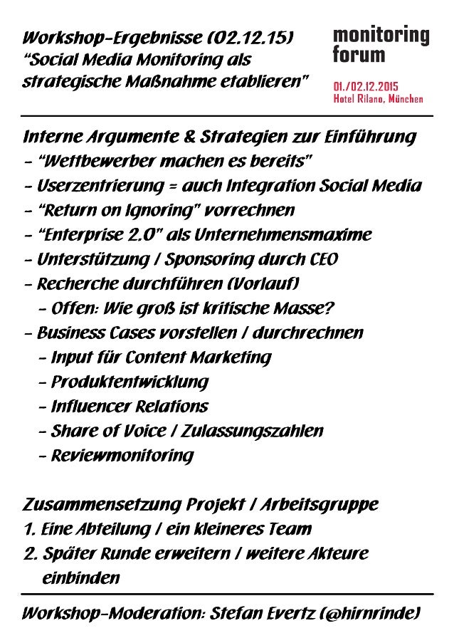 Ergebnis Strategie-Workshop Social Media Monitoring #somofo15