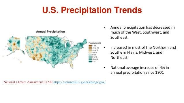 U.S. Precipitation Trends National Climate Assessment CCSR: https://science2017.globalchange.gov/ • Annual precipitation h...