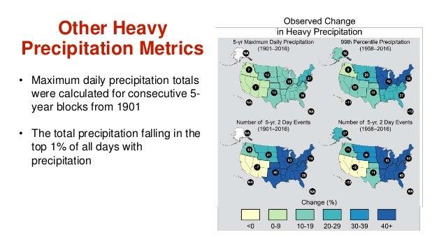 • Maximum daily precipitation totals were calculated for consecutive 5- year blocks from 1901 • The total precipitation fa...