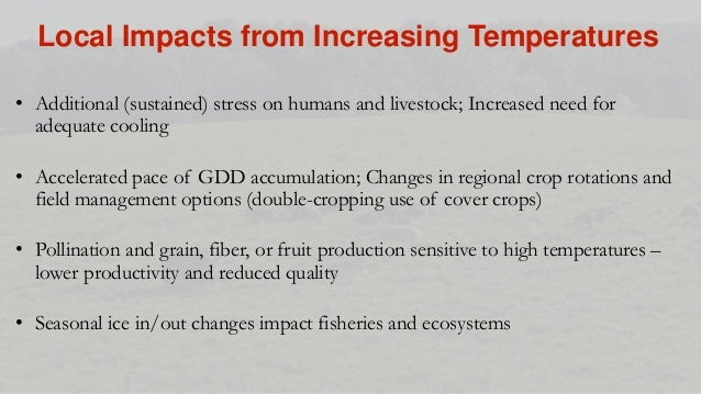 • Additional (sustained) stress on humans and livestock; Increased need for adequate cooling • Accelerated pace of GDD acc...