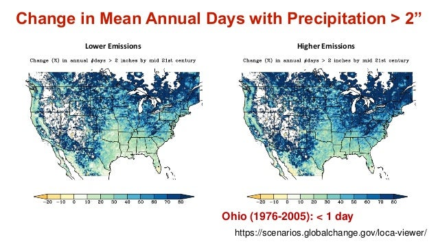 """Change in Mean Annual Days with Precipitation > 2"""" Lower Emissions Higher Emissions Ohio (1976-2005): < 1 day https://scen..."""
