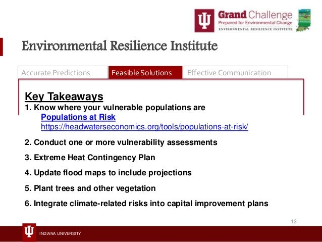 INDIANA UNIVERSITY Environmental Resilience Institute Accurate Predictions Feasible Solutions Effective Communication Key ...