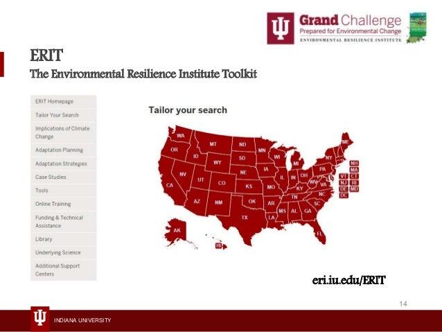 INDIANA UNIVERSITY ERIT The Environmental Resilience Institute Toolkit eri.iu.edu/ERIT 14