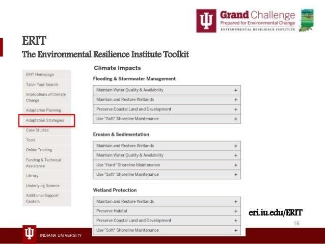 INDIANA UNIVERSITY ERIT The Environmental Resilience Institute Toolkit eri.iu.edu/ERIT 16