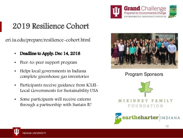 INDIANA UNIVERSITY 2019 Resilience Cohort • Deadline to Apply: Dec 14, 2018 • Peer-to-peer support program • Helps local g...
