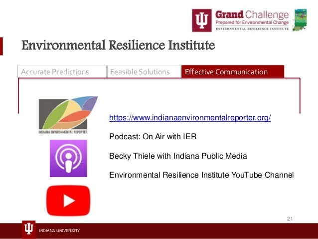 INDIANA UNIVERSITY Environmental Resilience Institute Accurate Predictions Feasible Solutions Effective Communication http...