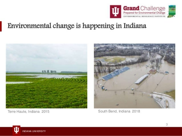 INDIANA UNIVERSITY South Bend, Indiana 2018Terre Haute, Indiana 2015 Environmental change is happening in Indiana 3