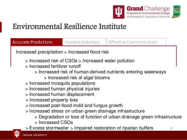 INDIANA UNIVERSITY Environmental Resilience Institute Accurate Predictions Feasible Solutions Effective Communication Incr...