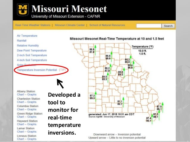 Thanks to funding from the USDA Midwest Climate Hub, Missouri's inversion monitoring protocol was imitated in IL, MI, KY, ...