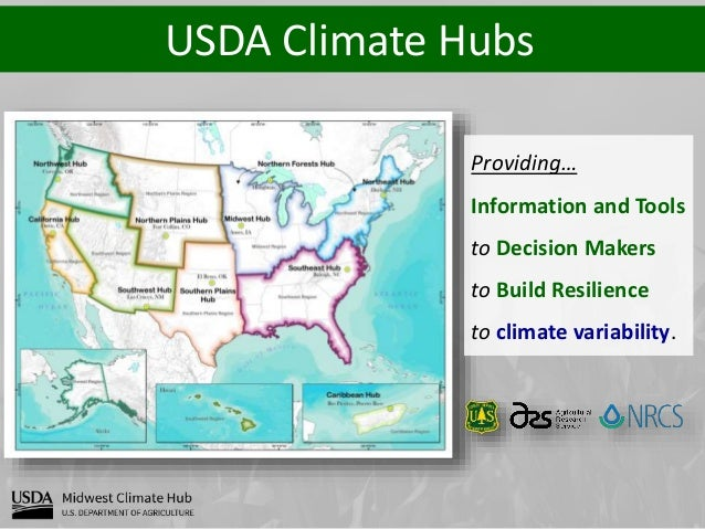 USDA Climate Hubs Providing… Information and Tools to Decision Makers to Build Resilience to climate variability.